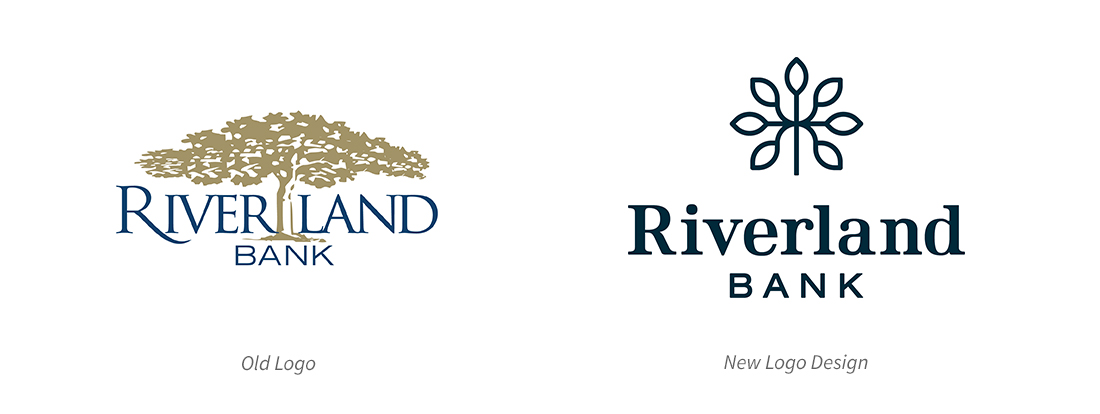 Riverland Bank | Knowledge Bank | Old and New Logo